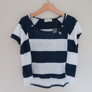 Abercrombie & Fitch Navy White Oversized Crop Tee